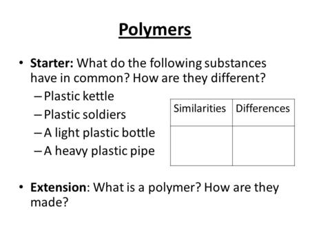 Polymers Starter: What do the following substances have in common? How are they different? – Plastic kettle – Plastic soldiers – A light plastic bottle.