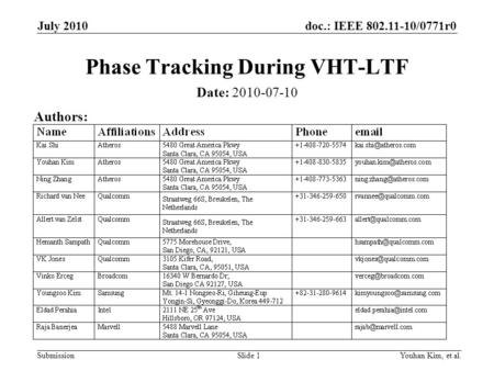 Phase Tracking During VHT-LTF
