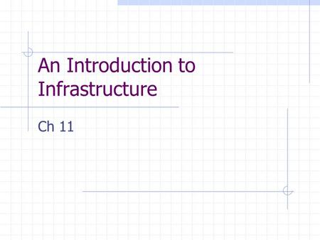 An Introduction to Infrastructure Ch 11. Issues Performance drain on the operating environment Technical skills of the data warehouse implementers Operational.