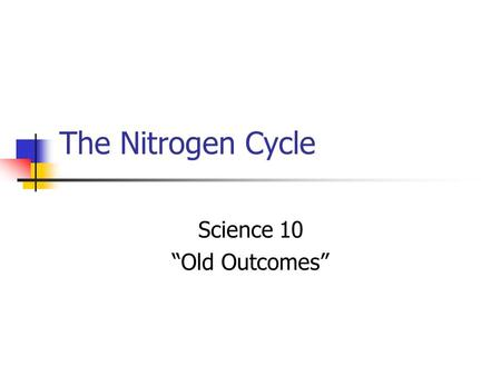 "The Nitrogen Cycle Science 10 ""Old Outcomes"". The Importance of Nitrogen Nitrogen is a main ingredient in fertilizer. Why does fertilizer produce better."