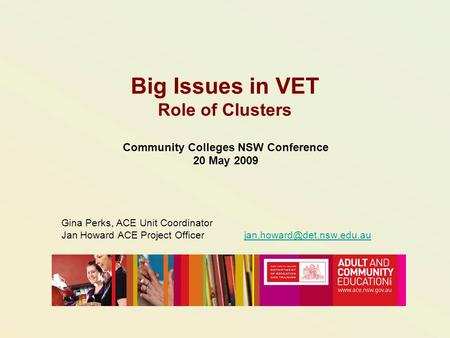 Big Issues in VET Role of Clusters Community Colleges NSW Conference 20 May 2009 Gina Perks, ACE Unit Coordinator Jan Howard ACE Project Officer