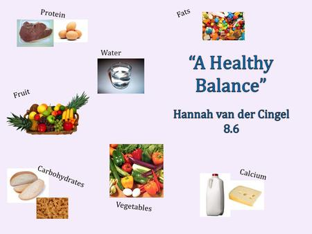 Protein Water Fruit Fats Calcium Vegetables Carbohydrates.
