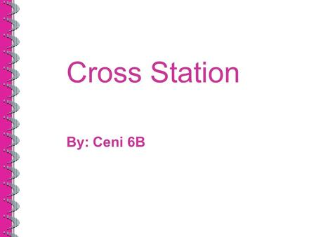 Cross Station By: Ceni 6B. What is Cross Station Cross station is one of the devotion. In cross station we use the bible and we read based prayers and.