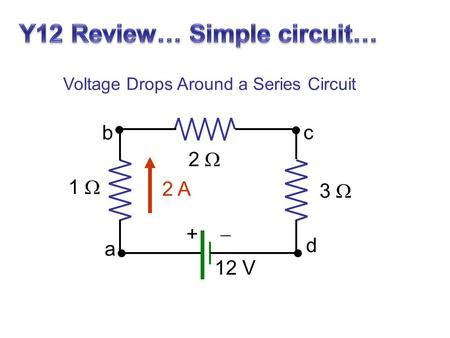 12 V 1  2  3  +  2 A a b c d Voltage Drops Around a Series Circuit.