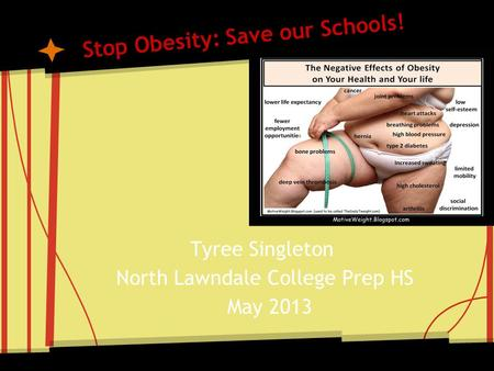 Stop Obesity: Save our Schools! Tyree Singleton North Lawndale College Prep HS May 2013.