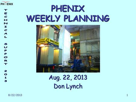 8/22/2013 1 PHENIX WEEKLY PLANNING Aug. 22, 2013 Don Lynch.