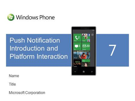 Name Title Microsoft Corporation Push Notification Introduction and Platform Interaction.