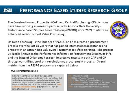 The Construction and Properties (CAP) and Central Purchasing (CP) divisions have been working as research partners with Arizona State University's Performance.