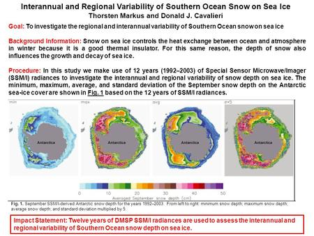 Interannual and Regional Variability of Southern Ocean Snow on Sea Ice Thorsten Markus and Donald J. Cavalieri Goal: To investigate the regional and interannual.