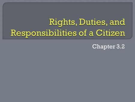 Chapter 3.2.  Describe the rights of American citizens  List and explain the duties of citizens  Define some of the responsibilities of citizenship.