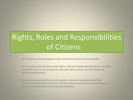 Rights, Roles and Responsibilities of Citizens So 4.4 explore how ideologies shape individual and collective citizenship So 4.5 examine perspective on.