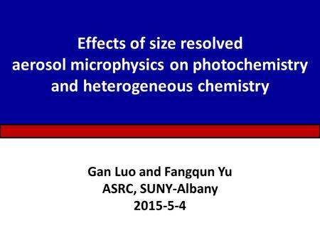 Effects of size resolved aerosol microphysics on photochemistry and heterogeneous chemistry Gan Luo and Fangqun Yu ASRC, SUNY-Albany 2015-5-4.
