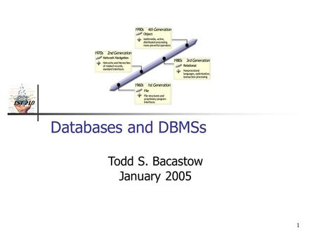 IST 210 1 Databases and DBMSs Todd S. Bacastow January 2005.