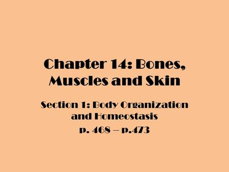 Chapter 14: Bones, Muscles and Skin Section 1: Body Organization and Homeostasis p. 468 – p.473.