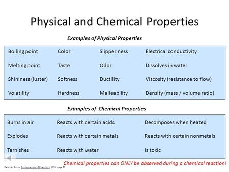 MATTER AND CHANGE. - ppt video online download What Are Some Examples Of Physical Properties