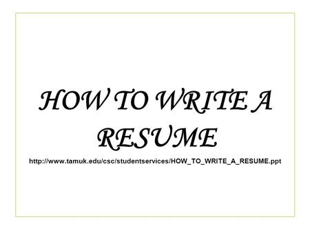 How to write a resume for your first job book