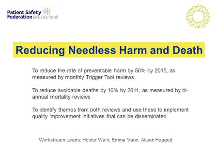 Workstream Leads: Hester Wain, Emma Vaux, Alison Huggett Reducing Needless Harm and Death To reduce the rate of preventable harm by 50% by 2015, as measured.