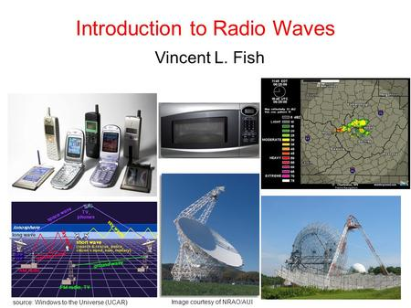 Introduction to Radio Waves Vincent L. Fish source: Windows to the Universe (UCAR)‏ Image courtesy of NRAO/AUI.