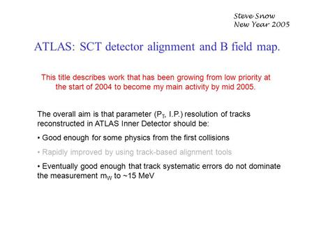 ATLAS: SCT detector alignment and B field map. Steve Snow New Year 2005 This title describes work that has been growing from low priority at the start.