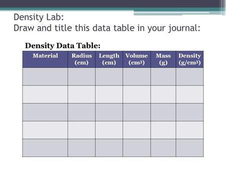 Density Lab: Draw and title this data table in your journal: