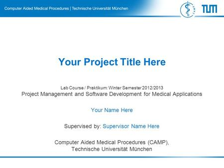 Your Project Title Here Lab Course / Praktikum: Winter Semester 2012/2013 Project Management and Software Development for Medical Applications Your Name.