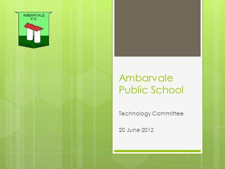Ambarvale Public School Technology Committee 20 June 2012.