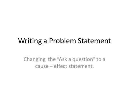Essay identifying a problem
