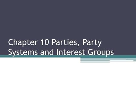 Chapter 10 Parties, Party Systems and Interest Groups.