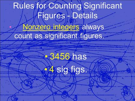 Rules for Counting Significant Figures - Details Nonzero integers always count as significant figures. 3456 has 4 sig figs.