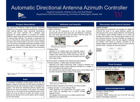Automatic Directional Antenna Azimuth Controller Cezanne Camacho, Andrew Curtis, and Tyler Bowen Department of Electrical Engineering, University of Washington,
