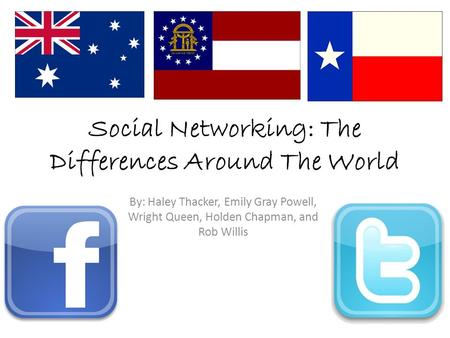 Social Networking: The Differences Around The World By: Haley Thacker, Emily Gray Powell, Wright Queen, Holden Chapman, and Rob Willis.