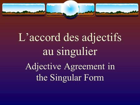 L'accord des adjectifs au singulier Adjective Agreement in the Singular Form.