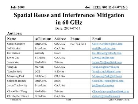 Doc.: IEEE 802.11-09/0782r0 Submission July 2009 Carlos Cordeiro, IntelSlide 1 Spatial Reuse and Interference Mitigation in 60 GHz Date: 2009-07-14 Authors:
