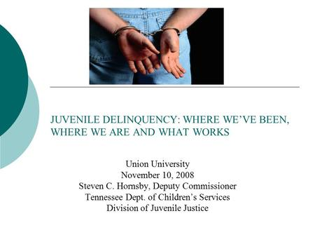 JUVENILE DELINQUENCY: WHERE WE'VE BEEN, WHERE WE ARE AND WHAT WORKS Union University November 10, 2008 Steven C. Hornsby, Deputy Commissioner Tennessee.