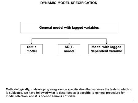1 General model with lagged variables Static model AR(1) model Model with lagged dependent variable Methodologically, in developing a regression specification.
