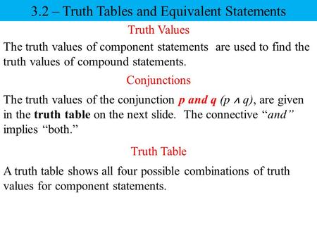 Conjunctions The truth values of component statements are used to find the truth values of compound statements. The truth values of the conjunction p and.