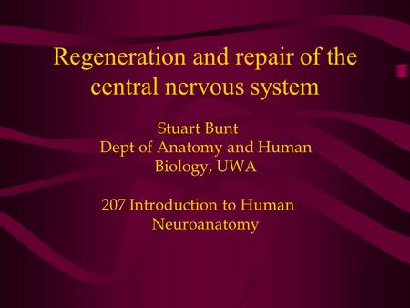 Regeneration and repair of the central nervous system Stuart Bunt Dept of Anatomy and Human Biology, UWA 207 Introduction to Human Neuroanatomy.