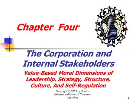 Copyright © 2003 by South- Western, a division of Thomson Learning1 Chapter Four The Corporation and Internal Stakeholders Value-Based Moral Dimensions.