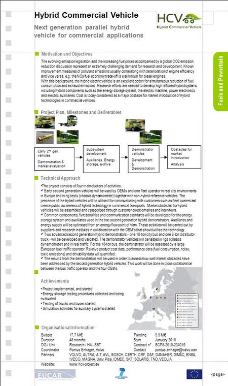 Fuels and Powertrain Hybrid Commercial Vehicle Next generation parallel hybrid vehicle for commercial applications Motivation and Objectives The evolving.