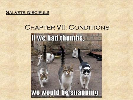 Salvete, discipuli! Chapter VII: Conditions Salvete, discipuli! Chapter VII: Conditions.