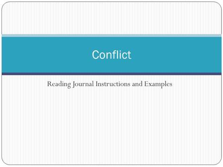 Reading Journal Instructions and Examples Conflict.
