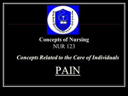 Concepts Related to the Care of Individuals PAIN Concepts of Nursing NUR 123.