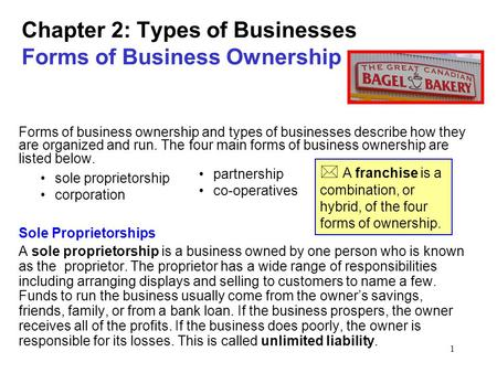 1 Chapter 2: Types of Businesses Forms of Business Ownership Forms of business ownership and types of businesses describe how they are organized and run.