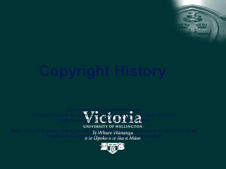 Copyright History Copyright ©2004 Stephen Marshall distributed under the terms of the GNU Free Documentation License (http://www.gnu.org/licenses/licenses.html)