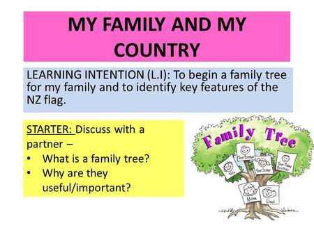 MY FAMILY AND MY COUNTRY LEARNING INTENTION (L.I): To begin a family tree for my family and to identify key features of the NZ flag. STARTER: Discuss with.