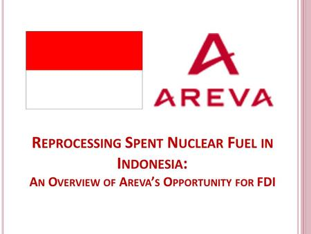R EPROCESSING S PENT N UCLEAR F UEL IN I NDONESIA : A N O VERVIEW OF A REVA ' S O PPORTUNITY FOR FDI.