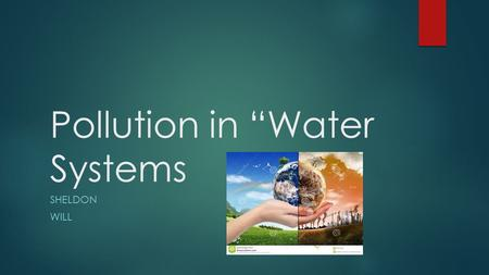"Pollution in ""Water Systems SHELDON WILL. Pollution in water systems  Every day thousands of chemicals and pollution enter our water systems.  Pollution."