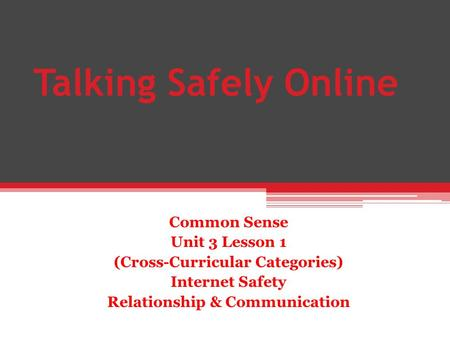 Talking Safely Online Common Sense Unit 3 Lesson 1 (Cross-Curricular Categories) Internet Safety Relationship & Communication.