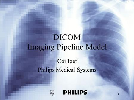 1 DICOM Imaging Pipeline Model Cor loef Philips Medical Systems.