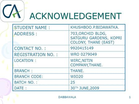 ACKNOWLEDGEMENT STUDENT NAME : ADDRESS :